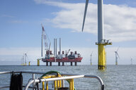 View from boat of offshore wind farm and construction ship - CUF31087
