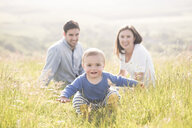 Portrait of young family in field - CUF31243