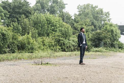 Businessman standing in remote landscape - UUF14076