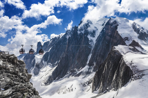 Elevated view of cable cars over snow covered valley at Mont blanc, France - CUF31359