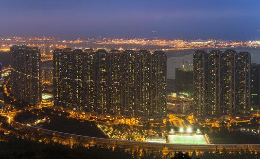 Tung Chung apartment buildings and Hong Kong airport, Hong Kong, China - ISF10013