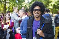 Portrait smiling, confident man in sunglasses - CAIF20825