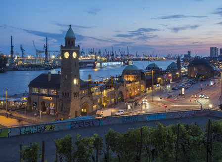Germany, Hamburg, St. Pauli Landing stages, Gauge Tower at harbour, blue hour - RJF00797