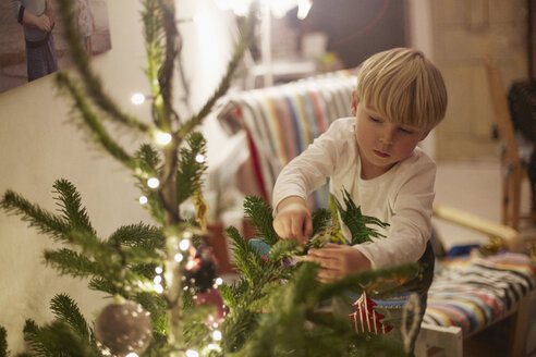 Young boy decorating tree at christmas - CUF32440