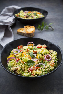 Tabbouleh made of couscous, tomatoes, red onions, cucumber, parsley and mint - LVF07108