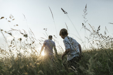 Boy and his father walking in nature at sunset - KMKF00362