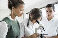 Students using microscope in lab - ISF10942