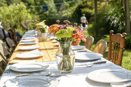 Table setting for large family at tomato eating festival - ISF11647