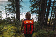 High angle rear view of mid adult woman carrying orange colour backpack standing in forest looking at water, Moraine lake, Banff National Park, Alberta Canada - ISF11692
