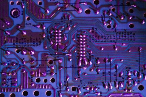 Overhead close up of purple colour circuit board - ISF12565