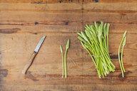 Green wild asparagus on wood - GWF05555