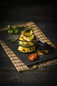 Vegan layered tower, potato mash, aubergine, zucchini and champignon - MAEF12661