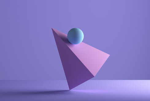 Sphere balancing on a pyramid, 3D Rendering - DRBF00067
