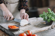 Woman's hands preparing Caprese Salad - ALBF00521