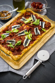 Pizza Marinara garnished with anchovies and parsley - GIOF03974