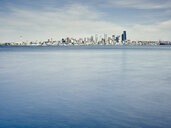 Distant view of skyline over Puget Sound, Seattle, Washington State, USA - ISF13014