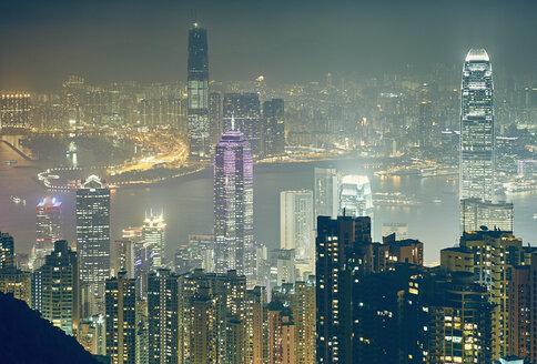 Cityscape at night, Victoria Peak, Hong Kong - ISF13130