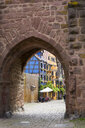 France, Alsace, Ribeauville, Old town, city gate - KLRF00604