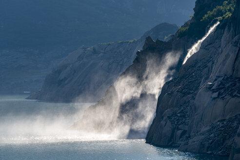 Switzerland, Canton of Uri, Goeschenen, Lake Goescheneralpsee, waterfall - STSF01622