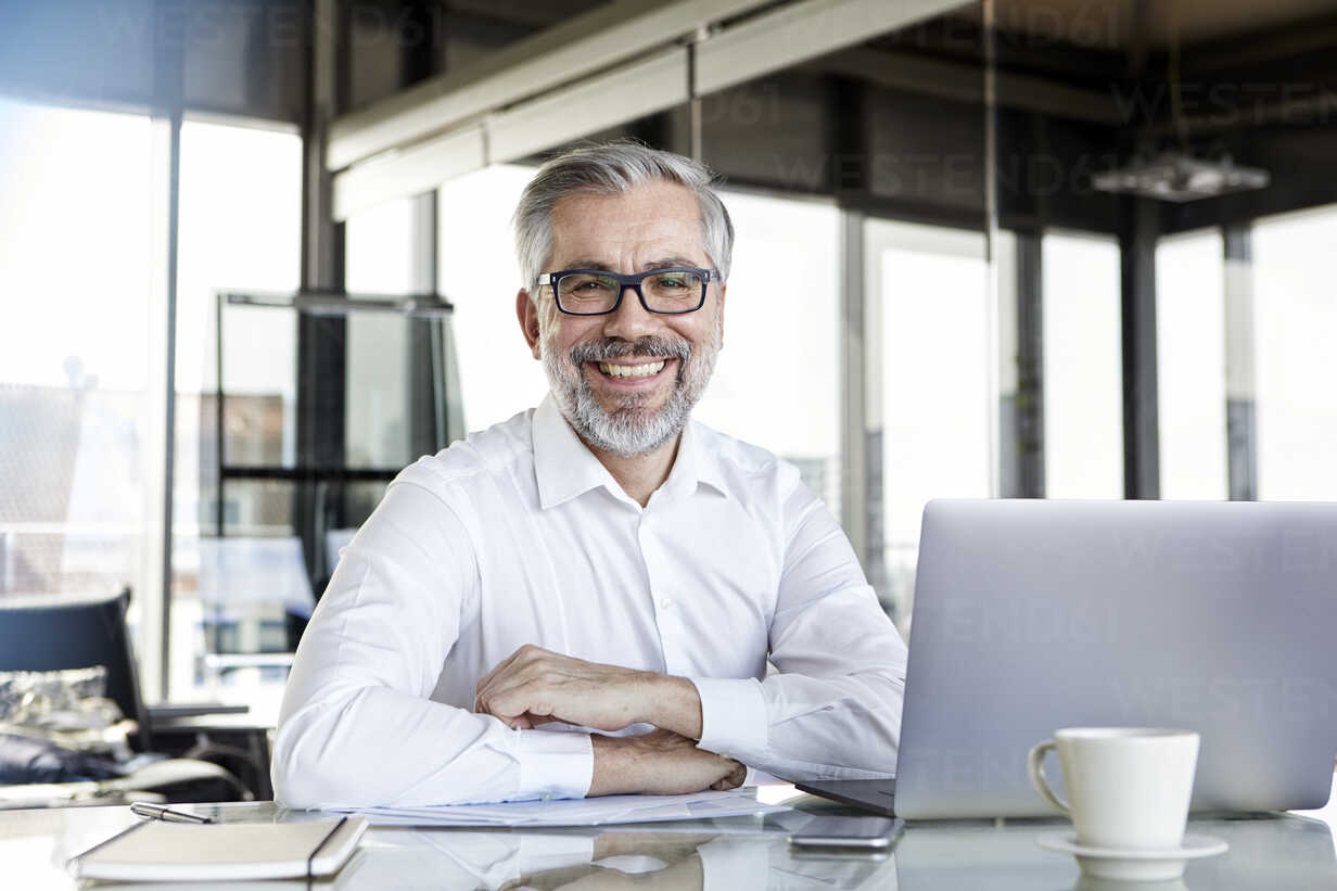 Portrait of smiling businessman with laptop at desk in office - RBF06325 - Rainer Berg/Westend61