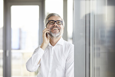 Laughing businessman at the window talking on cell phone - RBF06343