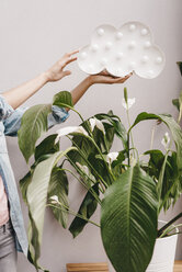Hand of woman holding cloud over house plant - KNSF04082