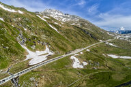 Switzerland, Canton of Uri, Tremola, Aerial view of Gotthard Pass, avalanche protection gallery - STSF01649