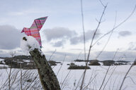 Origami bird sitting on wooden stake in winter - PSTF00135