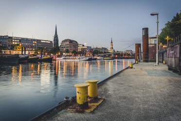 Germany, Hamburg, inland harbour and cityscape at blue hour - KEBF00849