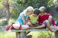 Three children sitting on garden seat looking down at digital tablet - CUF35262