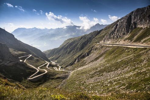 Distant view of old road to Gotthard Pass, Switzerland - CUF35535