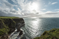 View of cliff coastline, Glenariff, County Antrim, Northern Ireland, UK - CUF35670