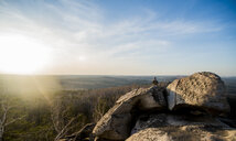 Young male hiker on top of rock formation - CUF36368