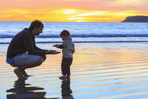 Father and toddler son playing on beach, San Diego, California, USA - ISF14433