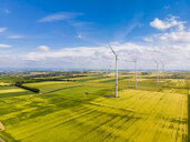 Germany, Rhineland-Palatinate, Alzey, Wind park and fields - AMF05794
