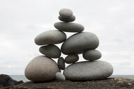 Group of coastal stones balanced on top of each other - CUF37003