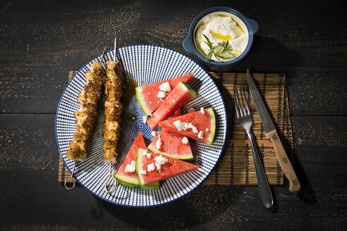 Souvlaki, grilled pork meat skewers, water melon, feta and garlic cream - MAEF12665