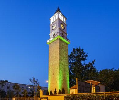 Albania, Tirana, Clocktower of Tirana at blue hour - SIEF07813