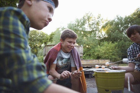 Group of young boys toasting marshmallows over bucket barbecue - CUF37078