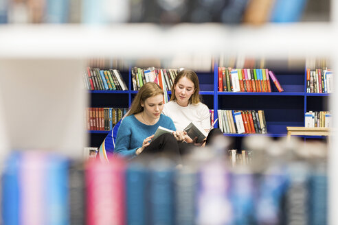 Two teenage girls sitting in a public library reading books - WPEF00510