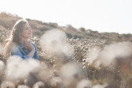 Mid adult woman sitting in field of wildflowers, Sardinia, Italy - CUF37576