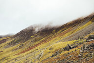 United Kingdom, England, Cumbria, Lake District, clouds covering the top of mountains at Honister Pass - WPEF00547