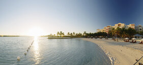 Panoramic view of beach resort, Providenciales, Turks and Caicos Islands, Caribbean - ISF14664