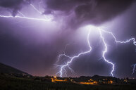 Lightning bolts over south Okanagan Valley, Penticton, British Columbia, Canada - ISF15254