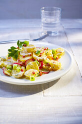 Potato salad with radish on plate - KSWF01920