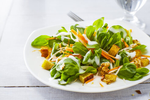 Autumnal salad with lamb's lettuce, carrots, slaw, croutons and walnuts - KSWF01923