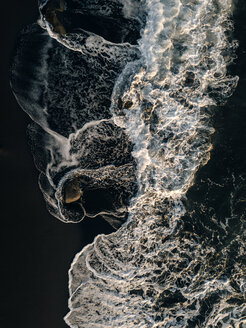 Indonesia, Bali, Indian Ocean, Aerial view of waves and rocks - KNTF01127