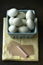 Chicken eggs, chalk, tag, kitchen towel - CUF38433