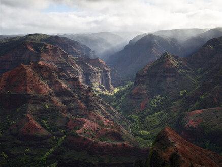 USA, Hawaii, Kauai, Waimea Canyon scenic, aerial view - CVF00927