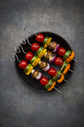 Vegetarian grill skewers on bowl - LVF07186